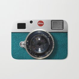 Blue Teal retro vintage camera with germany lens Bath Mat