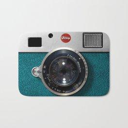 Blue Teal retro vintage camera with germany lens Bath Mat