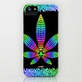 Rainbow Gems Cannabis Leaf iPhone Case