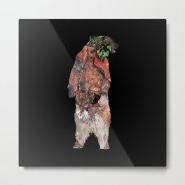 Woodland Bear - black Metal Print