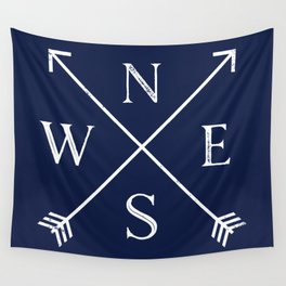 Navy Blue and White Compass Arrows Wall Tapestry