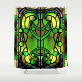 Green and Gold Stained Glass Victorian Design Shower Curtain