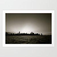 Chicago Skyline - Black and White Art Print