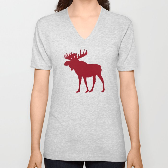 Moose: Rustic Red Unisex V-Neck