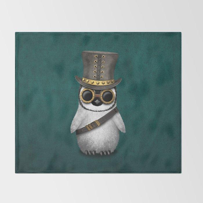 Steampunk Baby Penguin on Blue Throw Blanket