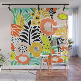 Summer Flower Field Abstract Orange Black Yellow Green White Pattern Large Wall Mural