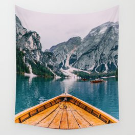 Canoe Mountains (Color) Wall Tapestry