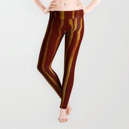 Golden and Terracotta Color Stripes Pattern Leggings