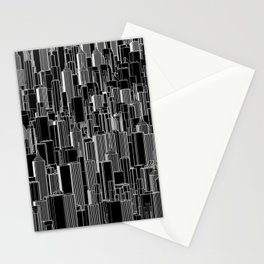 Tall city B&W inverted / Lineart city pattern Stationery Cards