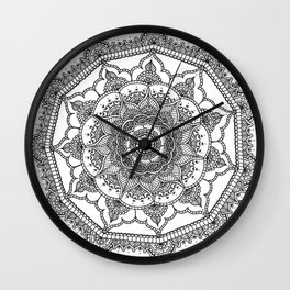 White Henna Bloom Wall Clock