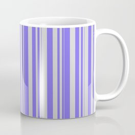Light Grey and Medium Slate Blue Colored Pattern of Stripes Coffee Mug