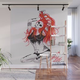 Girl on fire Wall Mural