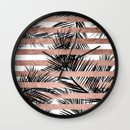 Trendy tropical palm trees chic rose gold stripes Wall Clock