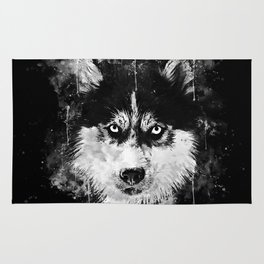 husky dog face splatter watercolor Rug
