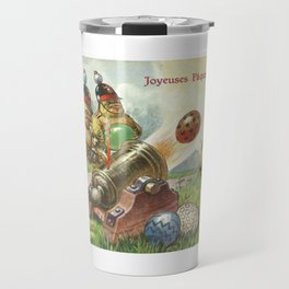 Easter chicks at War firing brightly colored Easter eggs from toy cannons Travel Mug