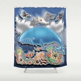 the blue whale Shower Curtain