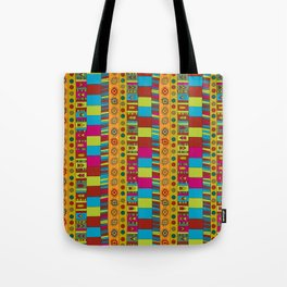 Abstract hand drawn Ethno design  in vivid colours. Tote Bag