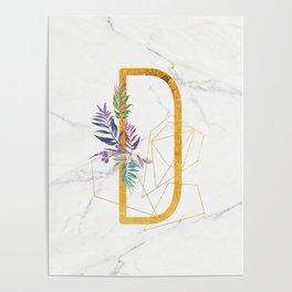 Modern glamorous personalized gold initial letter D, Custom initial name monogram gold alphabet prin Poster