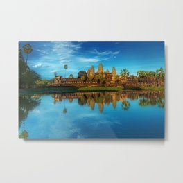 Sky Blue Day at Angkor Wat Buddist Temple, Cambodia by Lor Teng Huy Metal Print