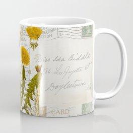 Vintage Dandelion on Antique Postcards Coffee Mug