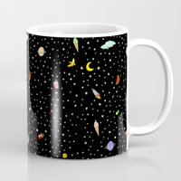 outer space Mugs featuring OUTER SPACE by DRAWDEALER