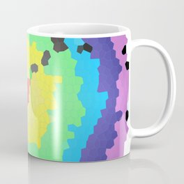 Round mosaic stained glass window with colored circles and white background Coffee Mug