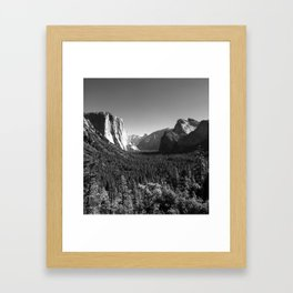 Yosemite Valley Tunnel View under Clear Skies (Black and White) Framed Art Print
