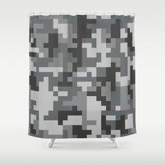 Grey Urban Pixel Camo pattern Shower Curtain