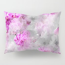CHERRY BLOSSOMS ORCHIDS AND MAGNOLIA IMPRESSIONS IN PINK GRAY AND WHITE Pillow Sham