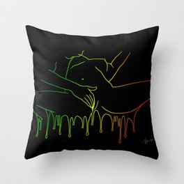 Colorful Climax line rainbow - Erotic Art Illustration Nude Sex Sexual Love Relationship Couple Throw Pillow