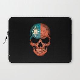 Dark Skull with Flag of Taiwan Laptop Sleeve