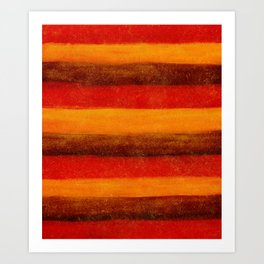 Brown,Yellow and Red Watercolour Stripes Textured Abstract Pattern Art Print
