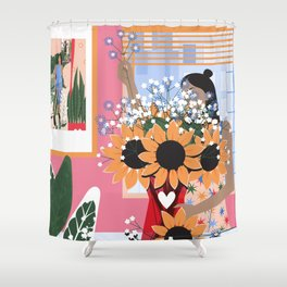 Plant Girl #5 Shower Curtain