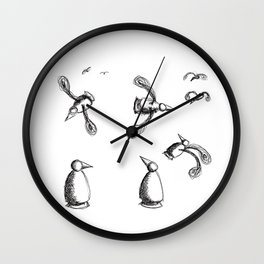 Flying Metaphysical Penguins Wall Clock