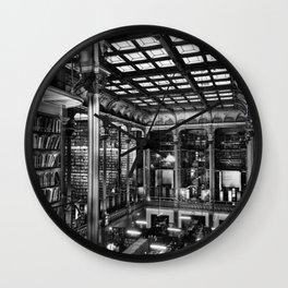 A Book Lover's Dream - Cast-iron Book Alcoves of Old Cincinnati Public Library No. 4 photograph Wall Clock