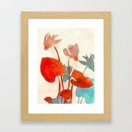 floral minimal shape illustration Framed Art Print