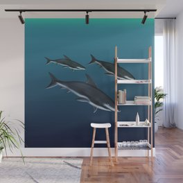 Three Sharks Dive Deep Wall Mural