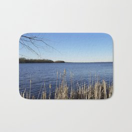 """Incredi-blue"" lake view - Lake Mendota, Madison, WI Bath Mat"