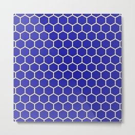 Honeycomb (White & Navy Blue Pattern) Metal Print