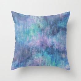 Baja Blue Watercolor Streaks Throw Pillow