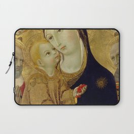 Sano di Pietro - Virgin and Child with Saints Jerome and Bernardino of Siena and Six Angels Laptop Sleeve