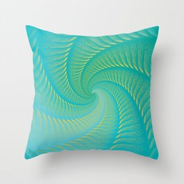 The Eye of the Tropical Storm | Turquoise Twist Geometric Spiral Artwork Throw Pillow