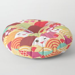 Kawaii Nature background with japanese sakura flower, wave pattern Floor Pillow