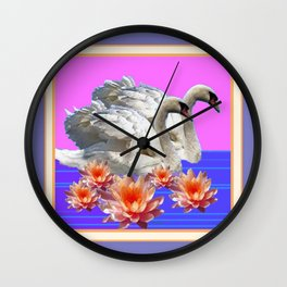Swans  & Peach Water Lilies Pastel Colors Wall Clock