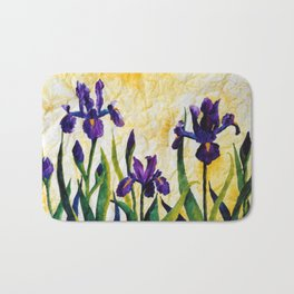 Watercolor Wild Iris on Wrinkled Paper Bath Mat