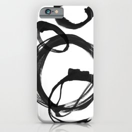 Black Ink Geometric Abstract Painting Rings 3 iPhone Case