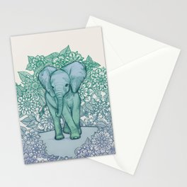 Emerald Elephant in the Lilac Evening Stationery Cards