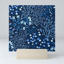 Retro 1980s Floral Ditsy Flowers At Nightime Mini Art Print