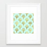 gold foil Framed Art Prints featuring Mint Gold Foil 02 by Aloke Design
