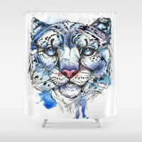 snow leopard Shower Curtains featuring Icy Snow Leopard by Abby Diamond